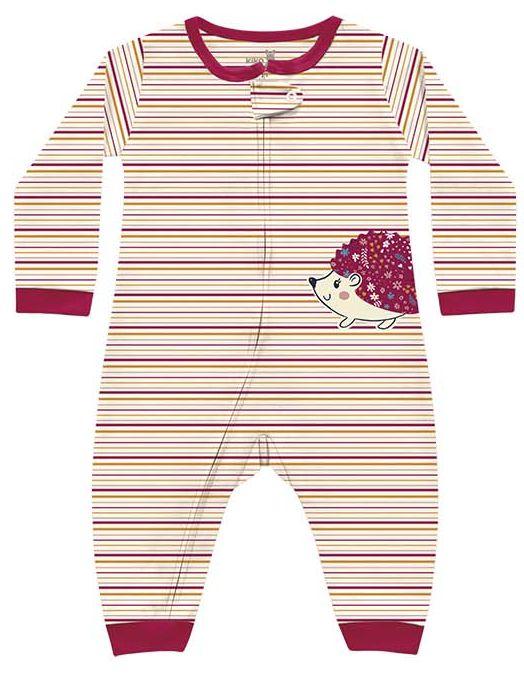 Macacão Bebê Suedine Menina Listras Porquinho Creme Kiko Baby
