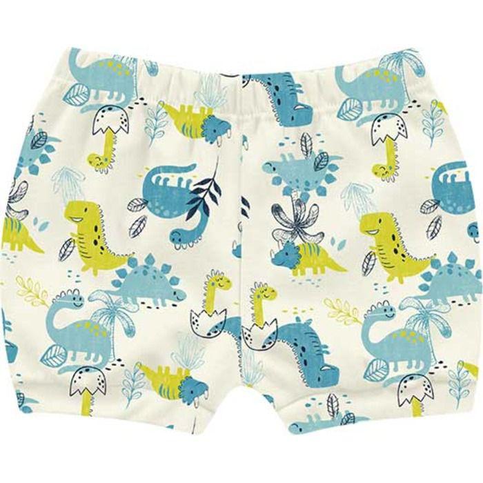 Kit Shorts Cobre Fraldas Bebê Unissex Little Dino Areia Kiko Baby