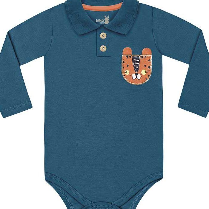 Kit Body Manga Longa Bebê Menino Gola Polo Mini Tiger Azul Intenso Kiko Baby