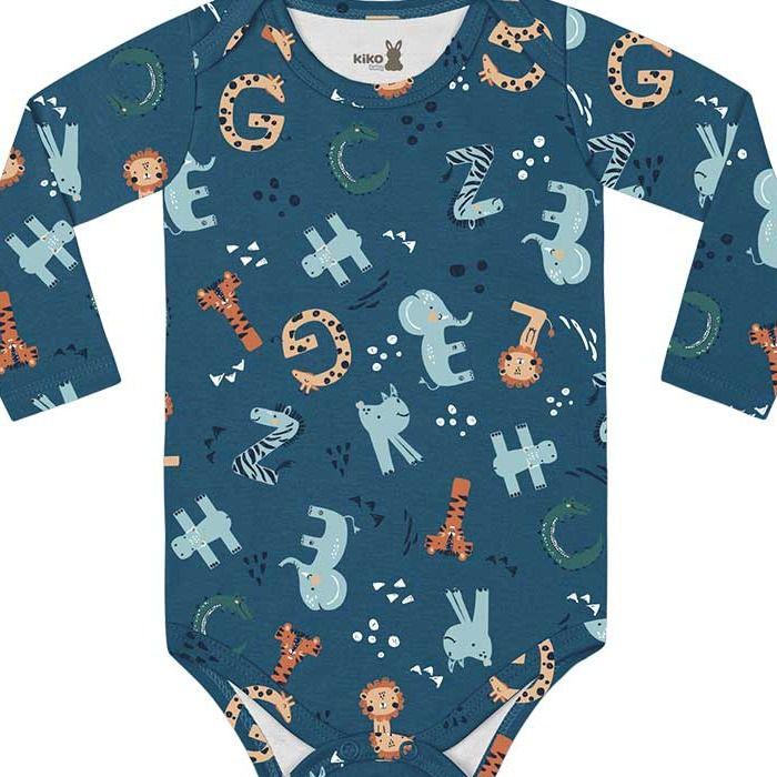 Kit Body Manga Longa Bebê Unissex Mini Tiger Dino Azul Intenso Kiko Baby