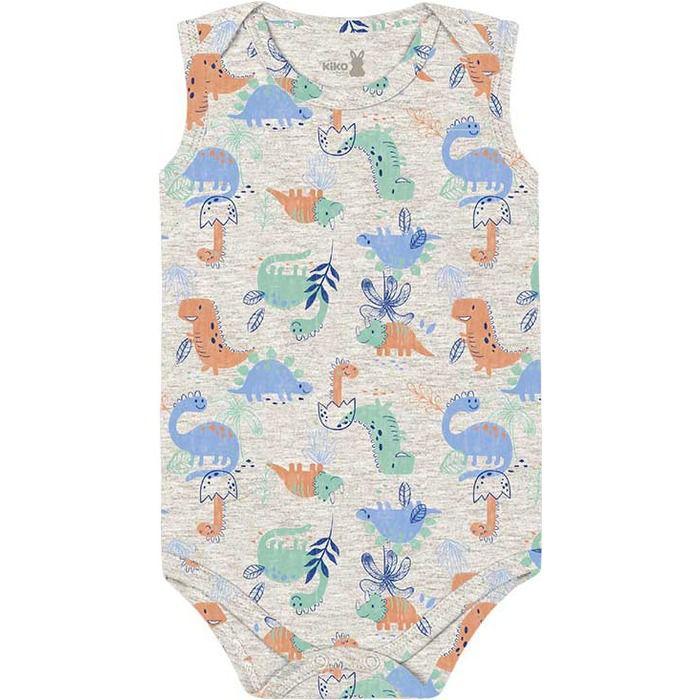 Kit Body Regata Bebê Unissex Little Dino Cinza Kiko Baby