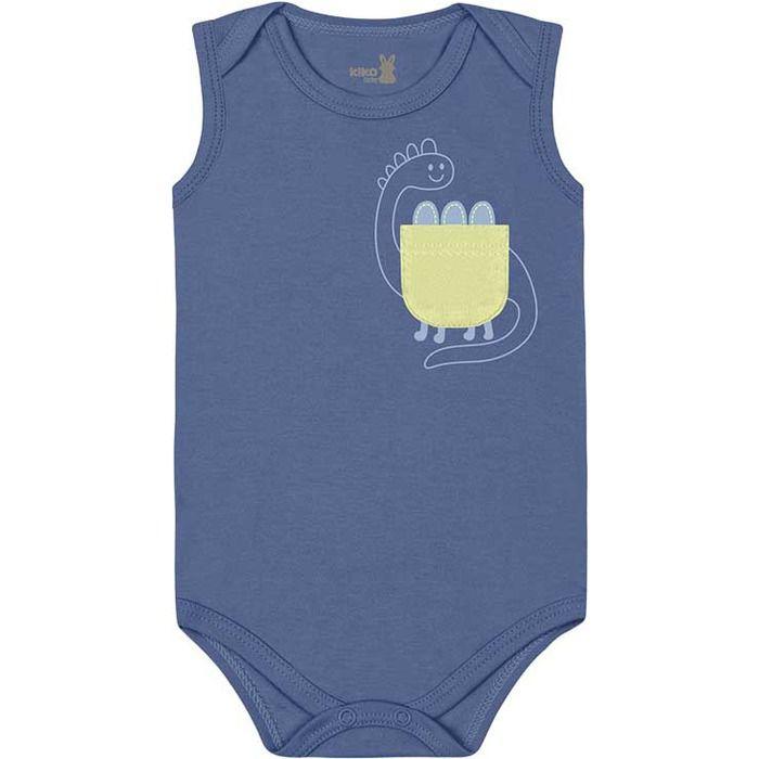 Kit Body Regata Bebê Unissex Little Dino Tricolor Kiko Baby