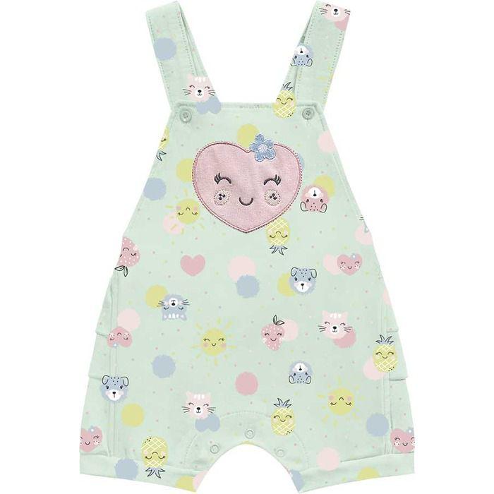 Conjunto Macacão Jardineira Bebê Frutinhas Verde Kiko Baby