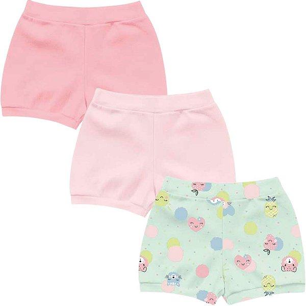 Kit Shorts Cobre Fraldas Bebê Menina Frutinhas Verde Kiko Baby