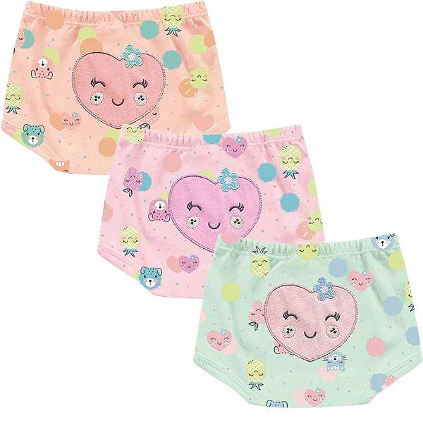 Kit Shorts Cobre Fraldas Bebê Menina Frutinhas Kiko Baby