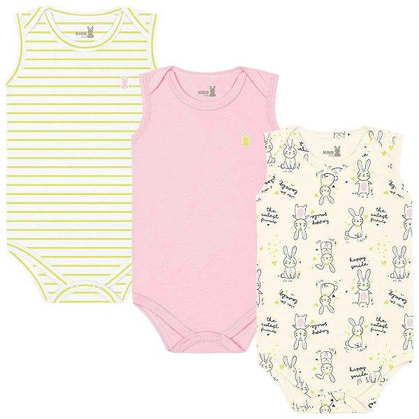 Kit Body Regata Bebê Menina Coelhinhos Amarelo Kiko Baby
