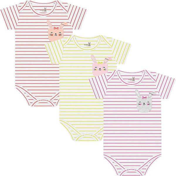 Kit Body Manga Curta Bebê Menina Coelhinhos Listras Kiko Baby