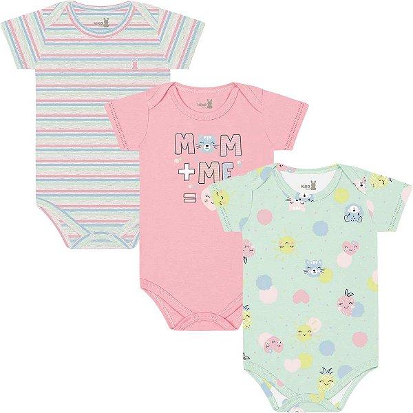 Kit Body Manga Curta Bebê Menina Frutinhas Verdinho Kiko Baby