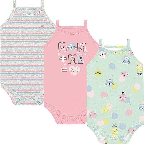 Kit Body Regata Alcinha Bebê Menina Frutinhas Verdinho Kiko Baby