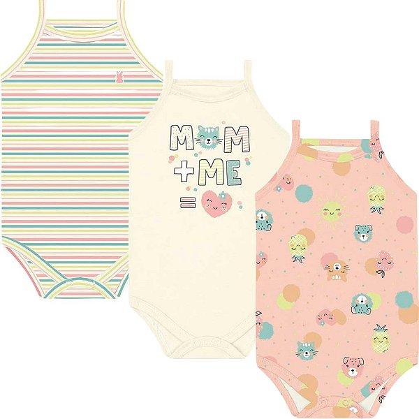 Kit Body Alcinha Bebê Menina Frutinhas Salmão Kiko Baby