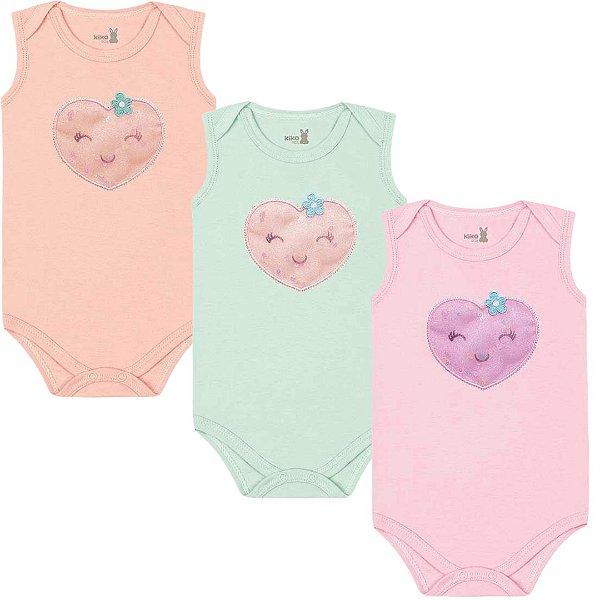 Kit Body Regata Bebê Menina Frutinhas Tricolor Kiko Baby