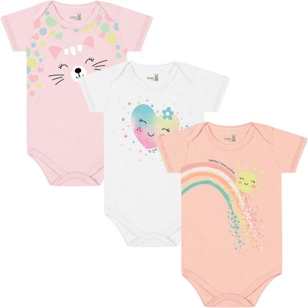 Kit Body Manga Curta Bebê Menina Iris Bailarina Tricolor Kiko Baby