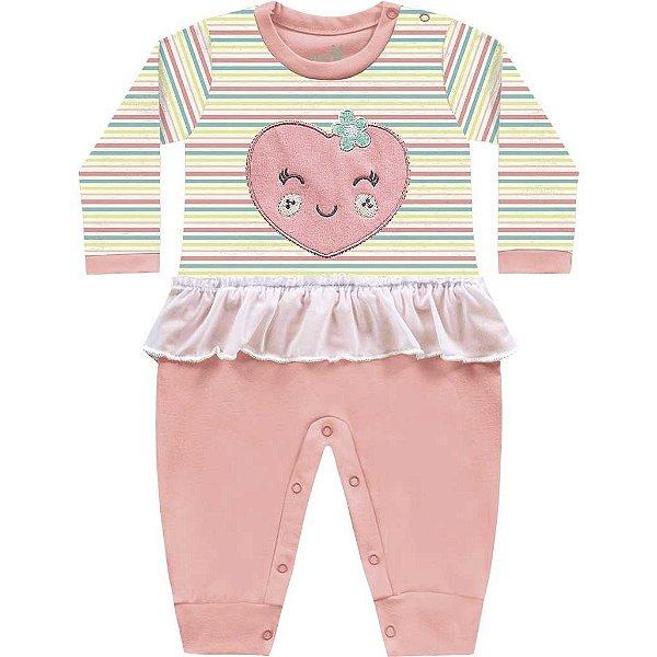 Macacão Bebê Menina Coração Bailarina Amarelo Kiko Baby