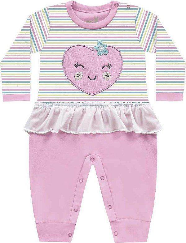 Macacão Bebê Menina Coração Bailarina Rosa Kiko Baby