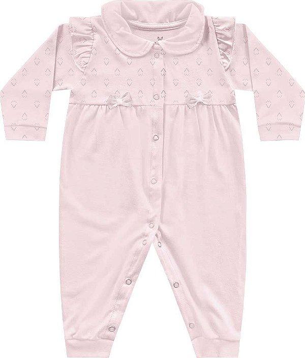 Macacão Bebê Menina Algodão Bailarina Rosa Kiko Baby