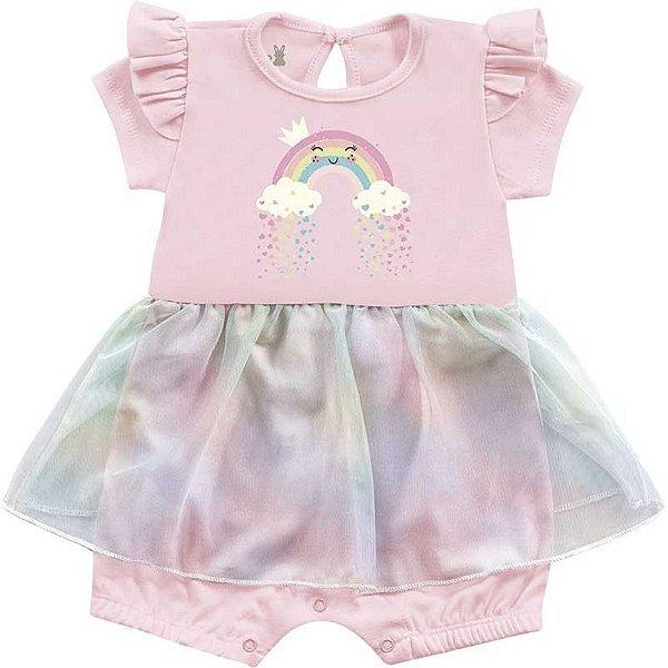 Macaquinho Romper Bebê Menina Iris Bailarina Rosa Kiko Baby