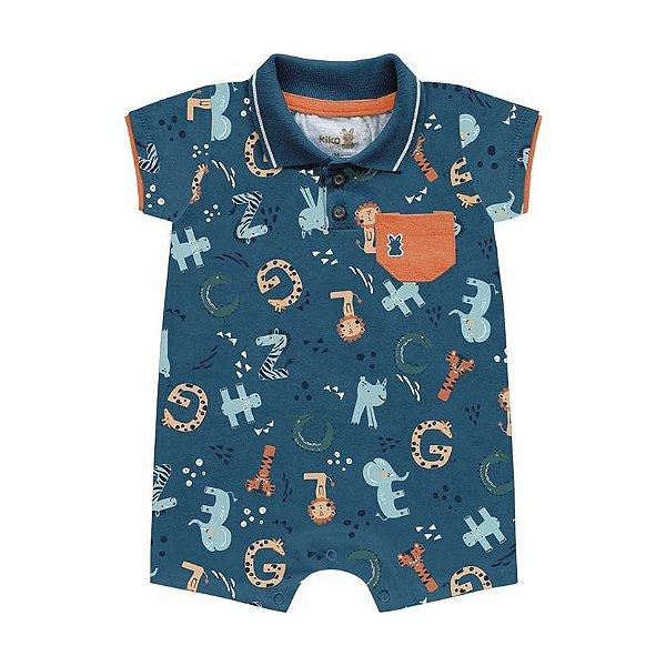 Macaquinho Romper Gola Polo Bebê Mini Tiger Azul Intenso Kiko Baby