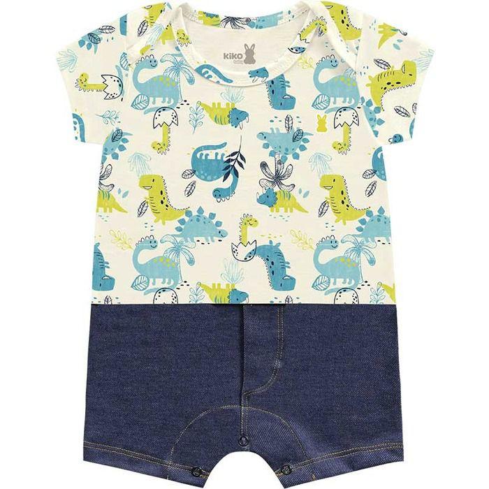 Macaquinho Romper Bebê Little Dino Areia Kiko Baby
