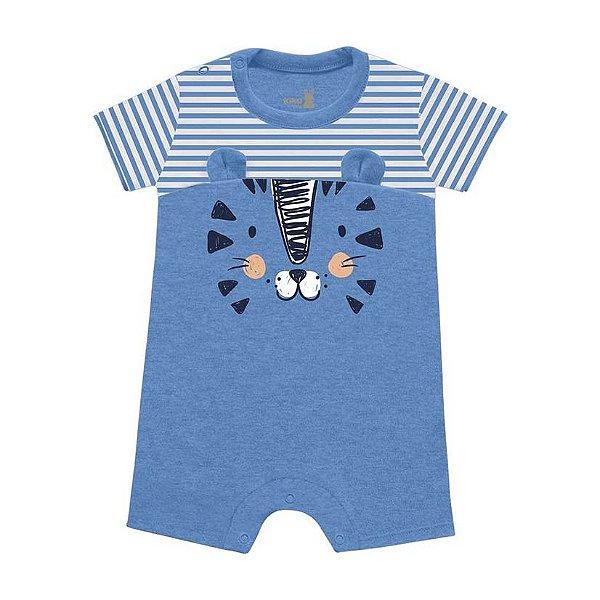 Macaquinho Romper Bebê Mini Tiger Azul Claro Kiko Baby