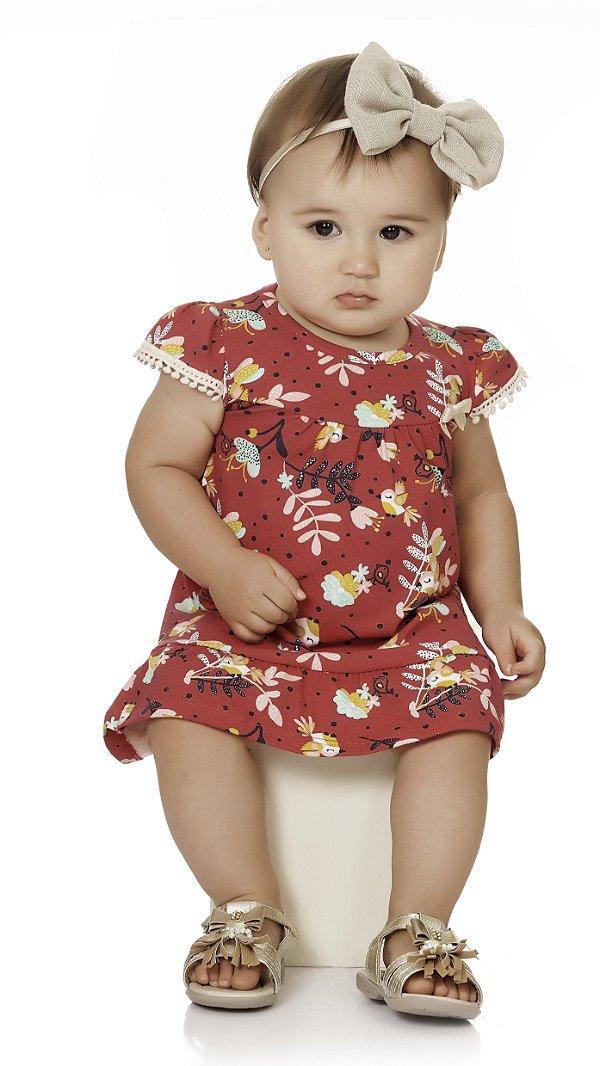 Vestido Bebê Infantil Ciganinha Verão Passarinhos