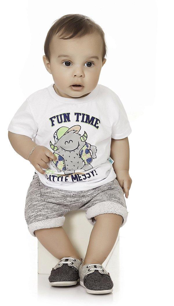 Conjunto Bebê Menino Infantil Camiseta Bermuda Moleton
