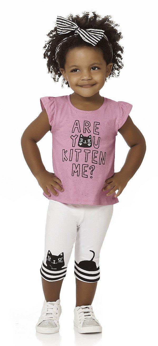 Conjunto Bebê Menina Infantil Blusa Legging Kitten