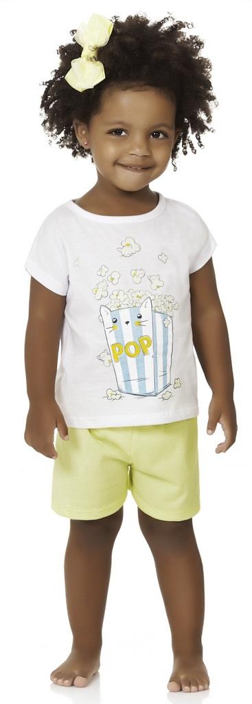 Pijama Menina Infantil Blusa Short Cat Pop