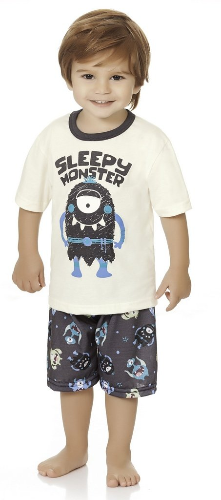 Pijama Menino Infantil Blusa Short Sleepy Monster