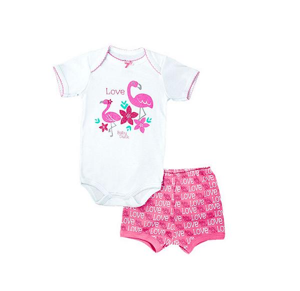 Kit Body Bodie Bebê Menina Manga Curta Shorts Flamingo 2 peças