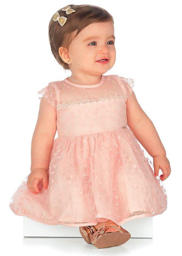 Vestido Bebê Festa Batizado Paraíso Infantil Tule Bordado