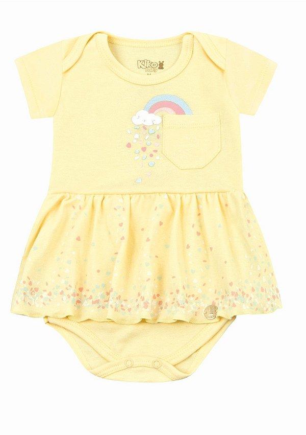 Body Bodie Bebê Menina Vestido Algodão Kiko Baby