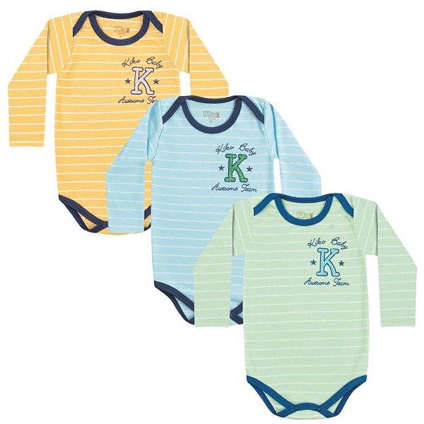 Kit 3 Body Bodie Bebê Menino Manga Longa Listras Kiko Baby
