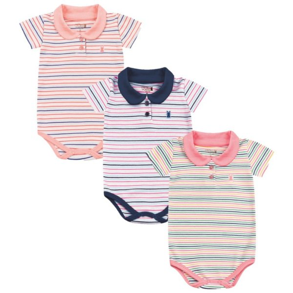 Kit body bebê 3 Peças Manga Curta Golpa Polo Listras Kiko Baby