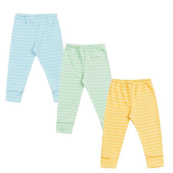 Calça Bebê Mijão Kit 3 Peças Azul Verde Amarelo Algodão Kiko Baby