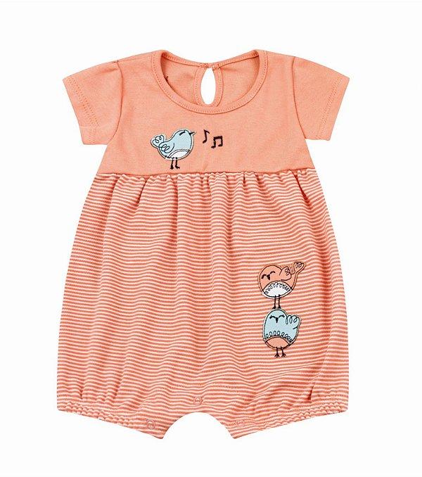 Macacão Bebê Romper Curto Bebê Menina Passarinho Kiko Baby