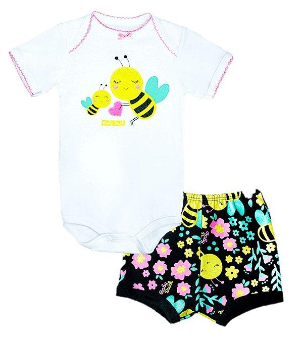 Kit body bebê 2 Peças Manga Curta Abelhinha Baby Duck