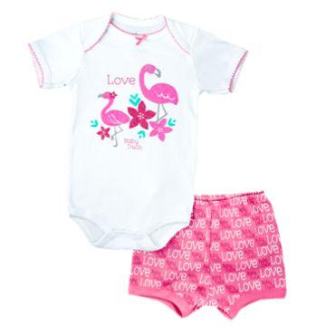 Kit Body Bodie Bebê Menina Manga Curta Shorts Flamingo 2 peças Baby Duck