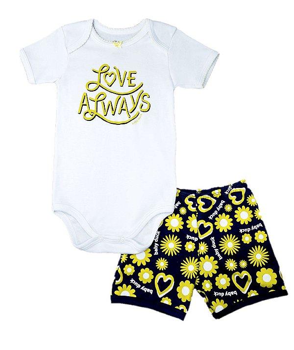 Kit body bebê 2 Peças Manga Curta Love Always Baby Duck