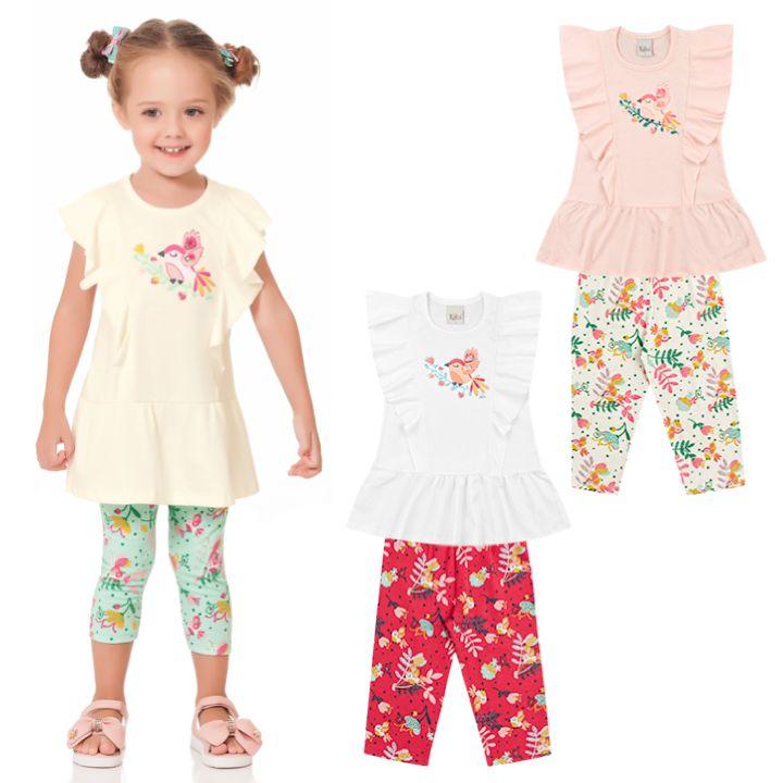 Conjunto Menina Infantil Bata Legging Passarinho Amarelo Kiko e Kika