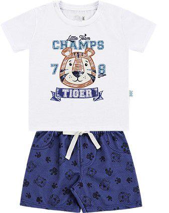 Conjunto Infantil Bebê Menino Camiseta Bermuda Moletom Tigre Branco Kiko e Kika