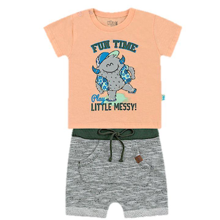 Conjunto Infantil Bebê Menino Camiseta Bermuda Moletom Fun Time Kiko e Kika