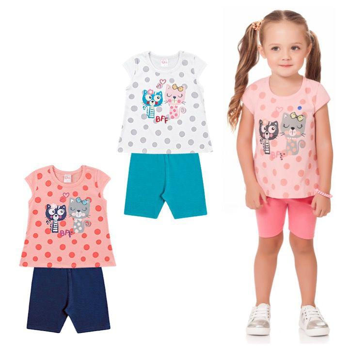 Conjunto Infantil Menina Camiseta Bermuda Gatinha Rosa Kiko e Kika