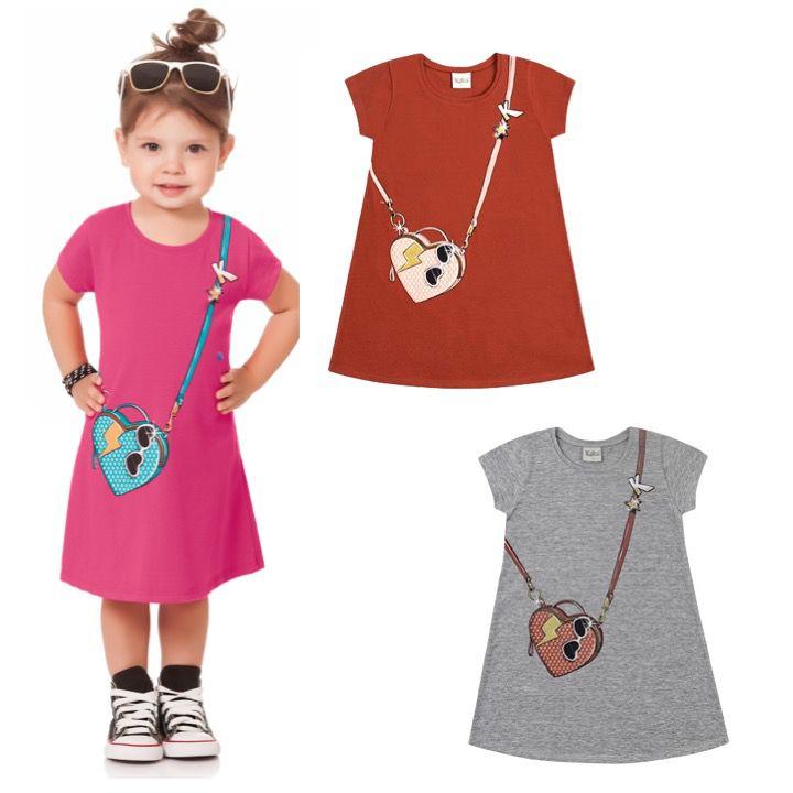 Vestido Infantil Midi Estampado Algodão Kiko e Kika
