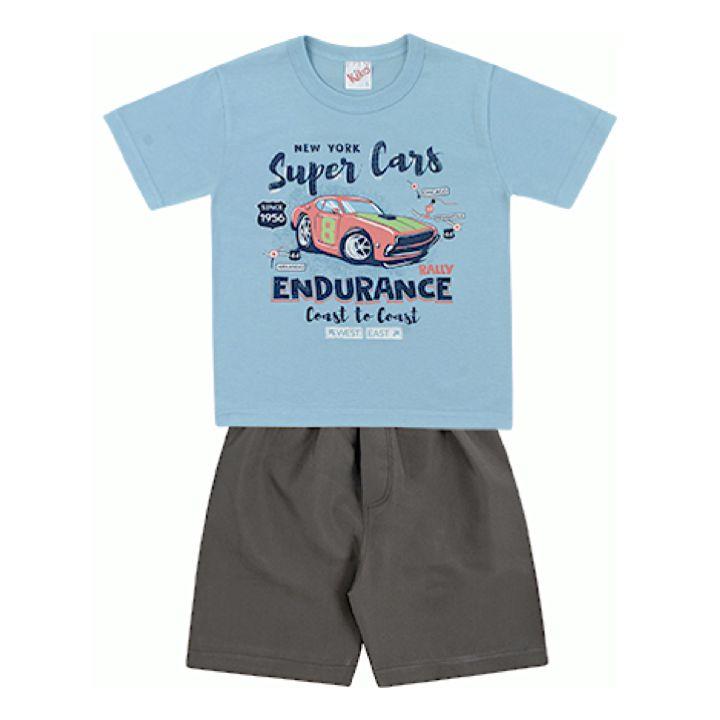 Conjunto Infantil Menino Camiseta Bermuda Tactel Super Cars Azul Kiko e Kika