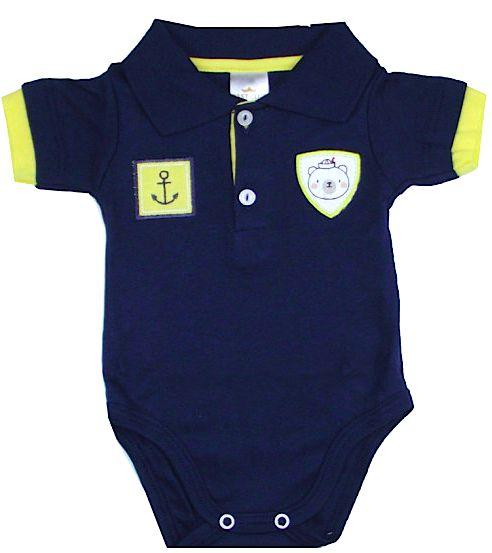 Body Bebê Gola Polo Manga Curta Ursinho Marinho Best Club