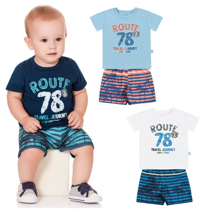 Conjunto Infantil Bebê Menino Camiseta Bermuda Moletom Route Marinho Kiko e Kika