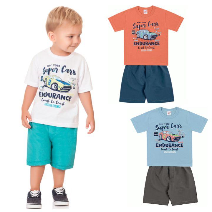 Conjunto Infantil Menino Camiseta Bermuda Tactel Cars Branco Kiko e Kika
