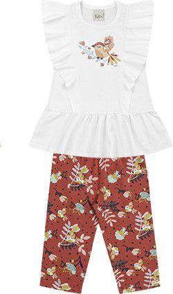 Conjunto Infantil Menina Vestido Calça Passarinho Branco Kiko e Kika