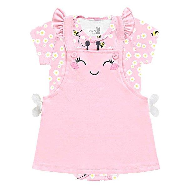 Vestido Bebê Salopete Manga Curta Abelhinha Little Flowers Rosa Kiko Baby
