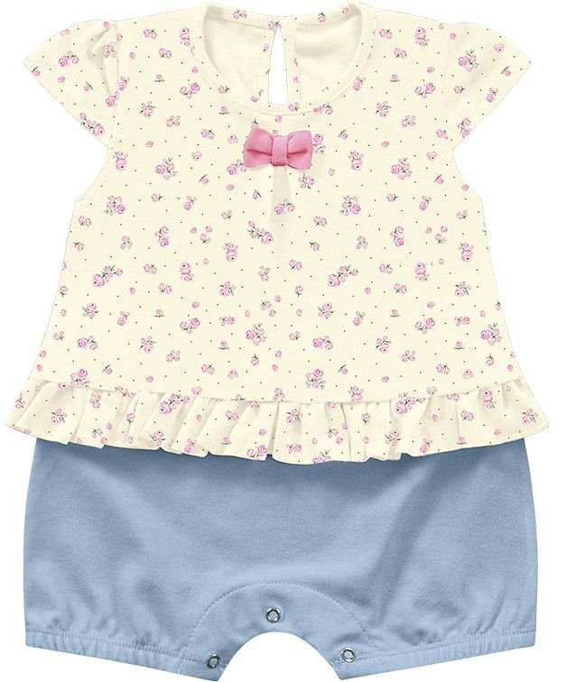 Macacão Curto  Romper Bebê Menina Little Flowers Iris Kiko Baby